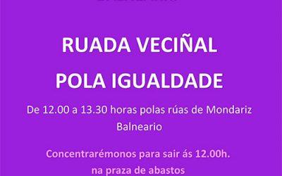 CANCELADO POR EL CORONAVIRUS – 15 de marzo 2020 Por el Día Internacional de la Mujer – AYUNTAMIENTO DE MONDARIZ BALNEARIO – RUADA VECINAL POR LA IGUALDAD