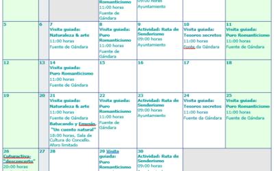 Calendario cultural de Mondariz Balenario para septiembre de 2021