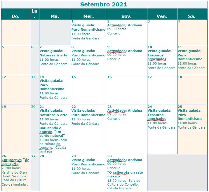 calendario cultural setembro 2021 mondariz balneario